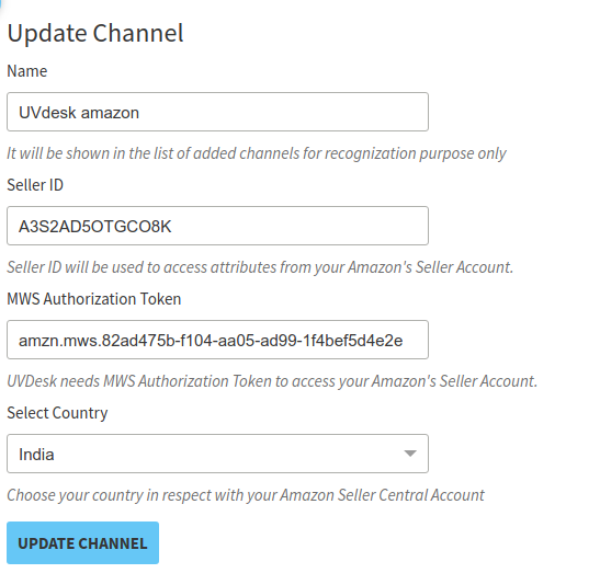Amazon Order Fetch App Configuration