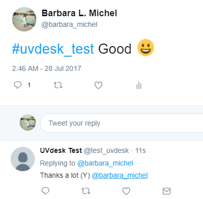 Response on Twitter from UVdesk