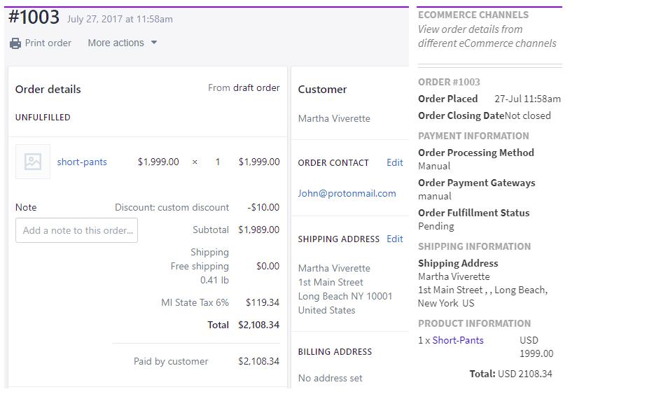 Shopify Order Details