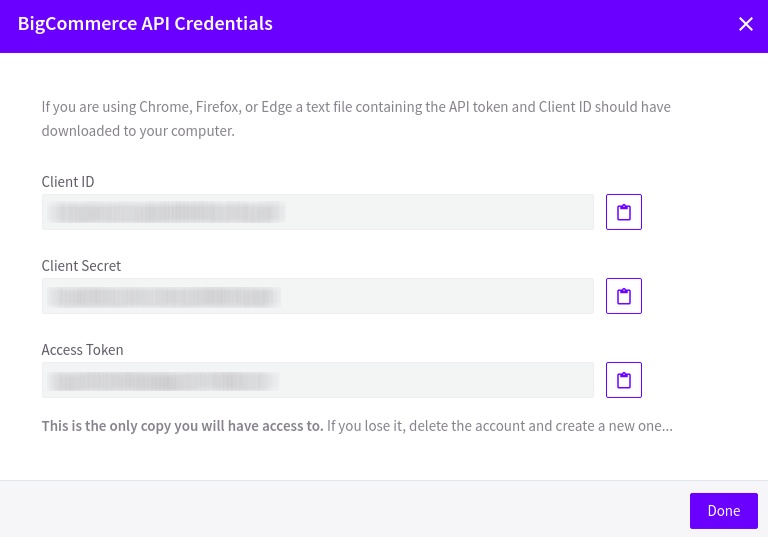 BigCommerce API Credentials