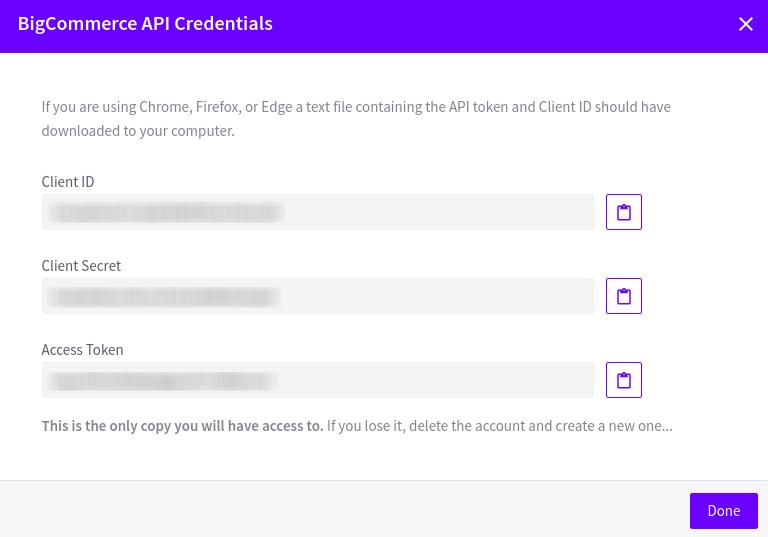 BigCommerce API Credentials