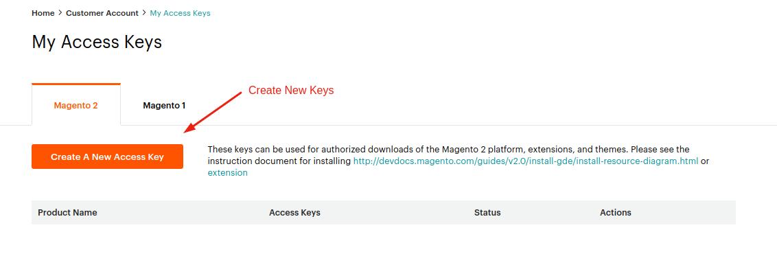 Create New Keys