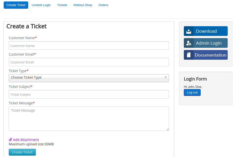 Joomla Customer Panel to create ticket