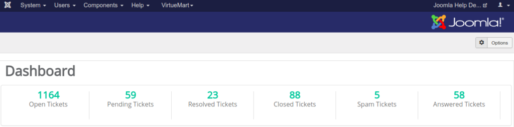 Joomla Help Desk Ticket Dashboard