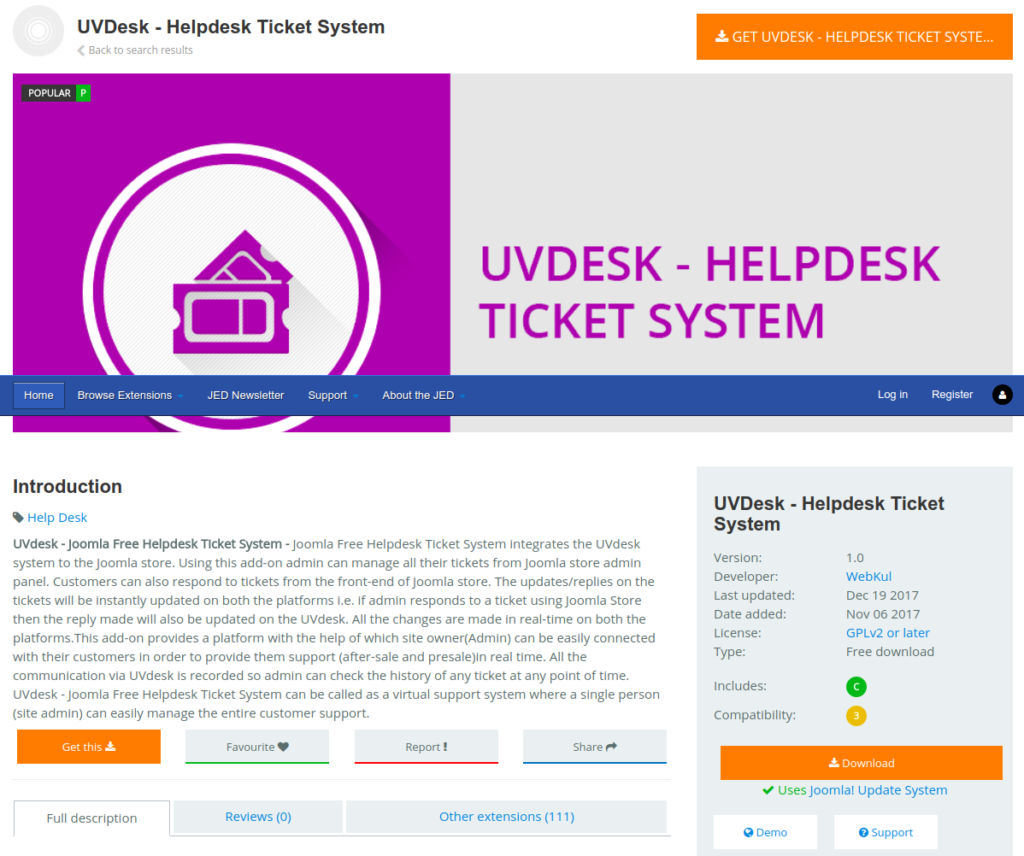 Joomla Help Desk Ticket System - UVdesk