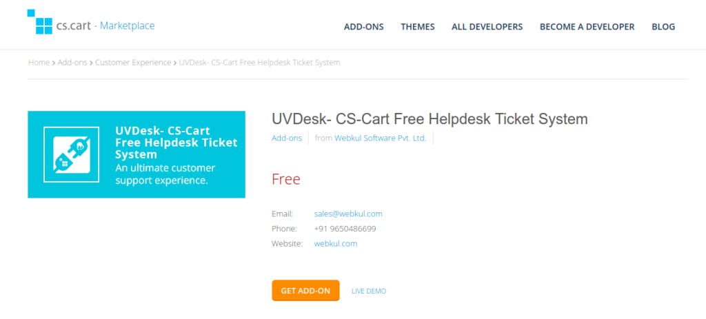 CS-Cart Help Desk Ticket System - UVdesk