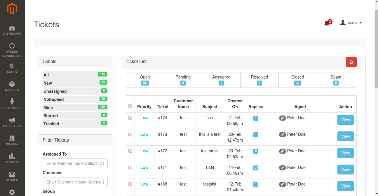 Magento 2 Helpdesk Ticket Panel