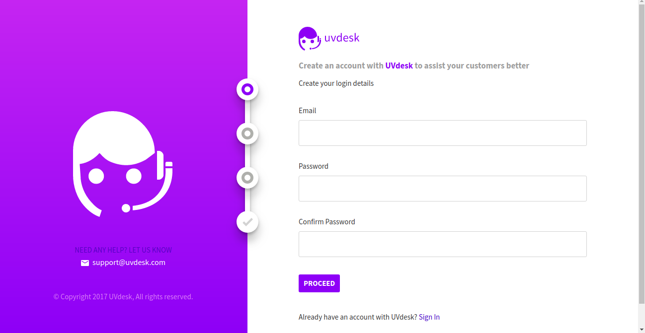 UVdesk - Sign Up
