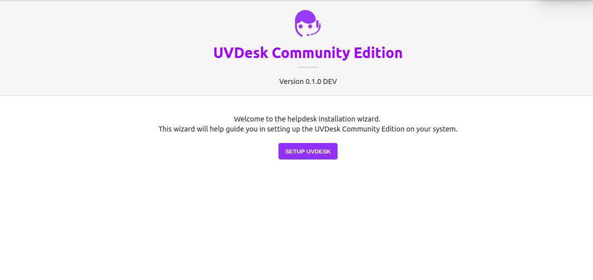 UVdesk opensource helpesk setup page