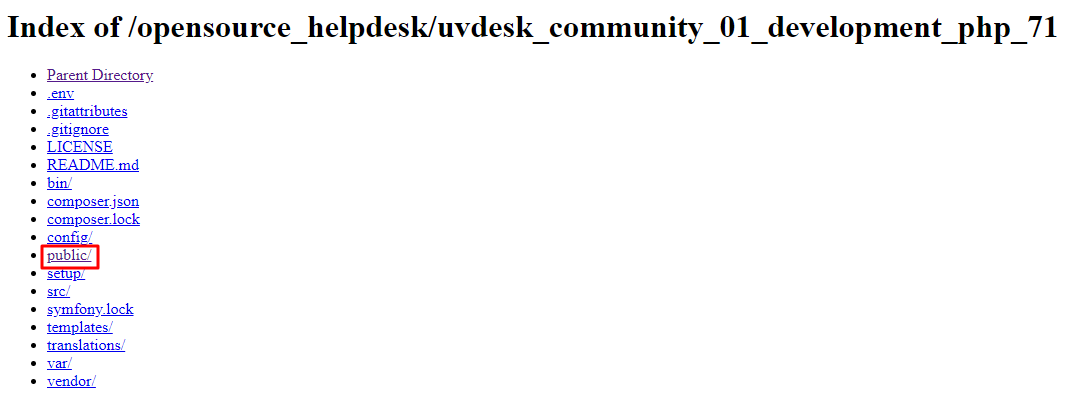 Access public url for installation of UVdesk