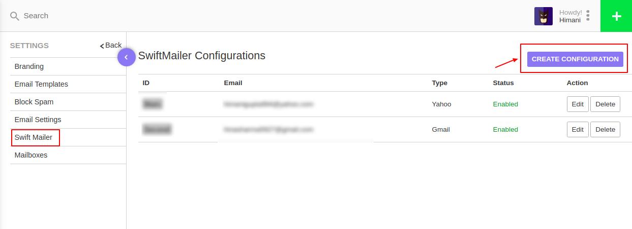 Swiftmailer Configuration