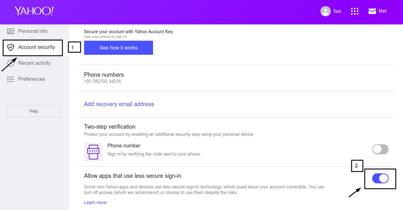 Yahoo Configuration